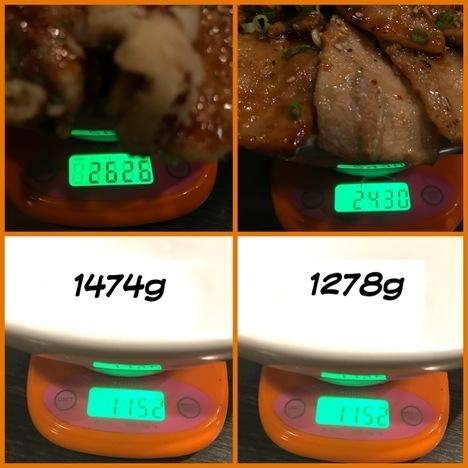 松本市でんでんデカ盛り焼肉丼とロコモコ丼計量