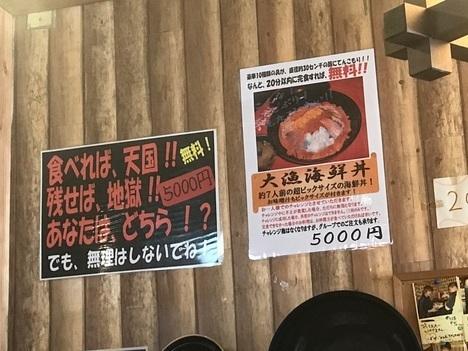名古屋チャレンジメニュー若狭家デカ盛り大漁海鮮丼案内