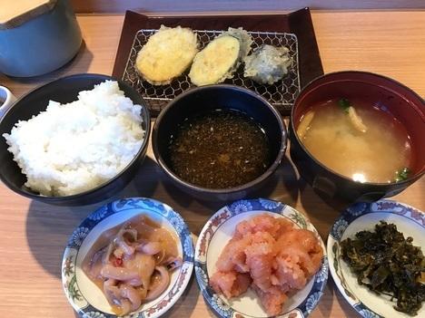 博多天ぷら木場やまみ明太子高菜塩辛食べ放題付き定食