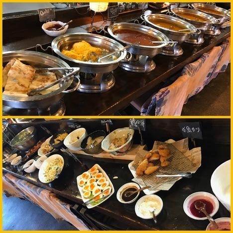 佐野インドカレー食べ放題印度家ランチ陳列