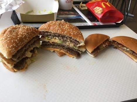 ギガビックマックとハンバーガー断面比較