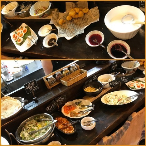 佐野インドカレー食べ放題印度屋ランチ陳列