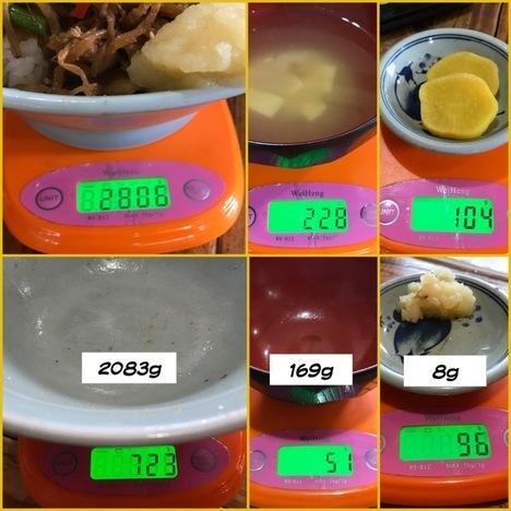 秋田山の五代デカ盛りスタミナ丼ダフルチョモランマ計量