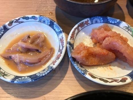 博多天ぷら木場やまみ明太子高菜塩辛食べ放題付き定食おかわり惣菜