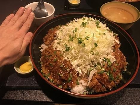長野上田かりん亭チャレンジメニューメガソースかつ丼掌比較