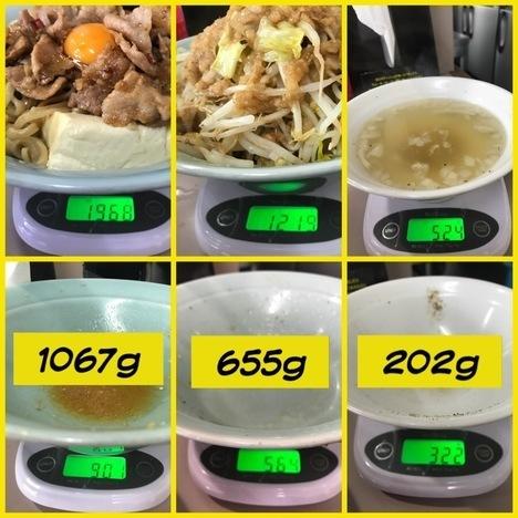 立川マシマシ足利DXマシライス麺と豆腐に変更ともやしサラダ大盛り二つ大食い計量