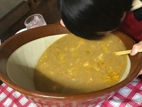 もつ煮ちょっぺDracoチャレンジメニュー残スープ