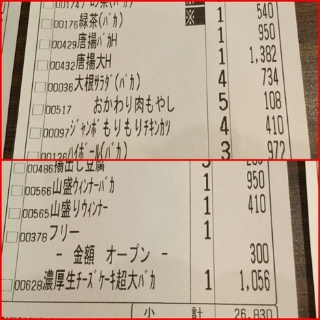 ちばちゃん上野店大食いオフ会会計レシート