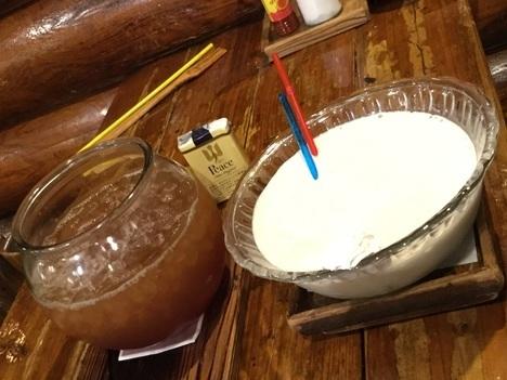 喫茶OB八潮店デカ盛りアイスティーとバナナジュース
