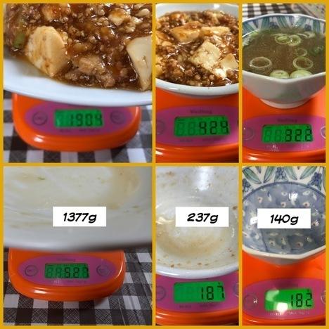 藤枝会飯よこ多デカ盛り麻婆豆腐飯計量