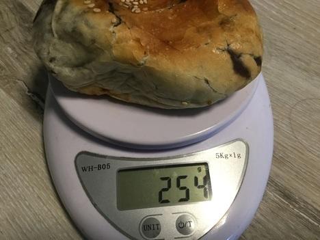 メイカセブン超うす皮あんぱんと77%ぶどうパン計量