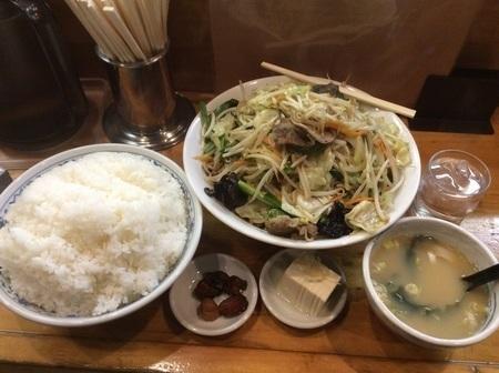二代目蝦夷トリプル肉野菜炒め定食全容
