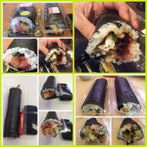 回転寿司チェーン4件恵方巻食べ比べ