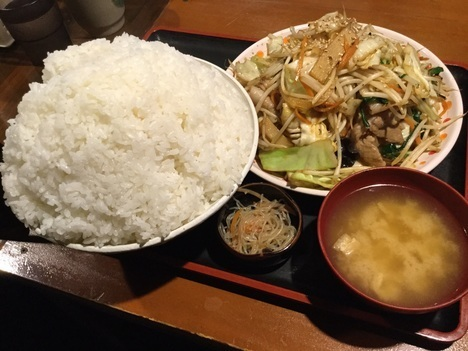 上州屋ぷちオフW肉野菜炒め定食メガごはん